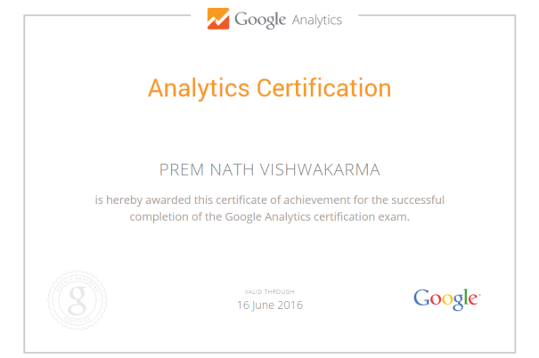 GA Certification - Prem Nath Vishwakarma